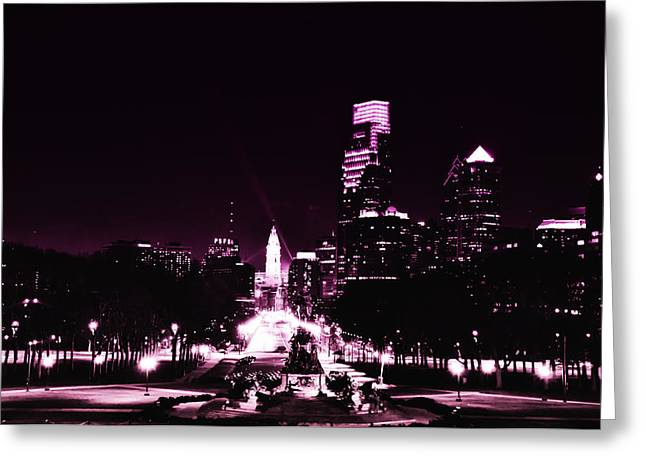 Ben Franklin Parkway In Black And White Greeting Card