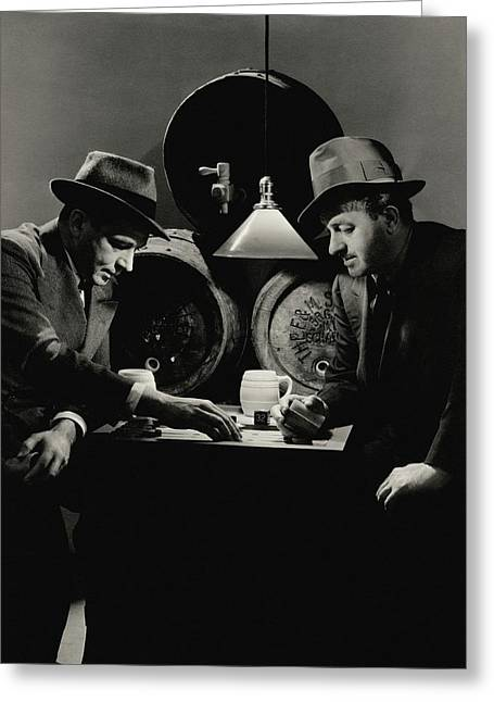 Ben Hecht And Charles Macarthur Playing Greeting Card by Lusha Nelson