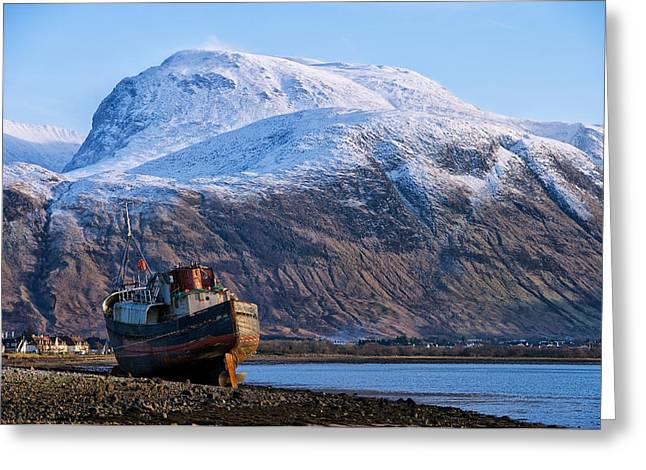 Ben Nevis And Old Boat Greeting Card by Jacqi Elmslie