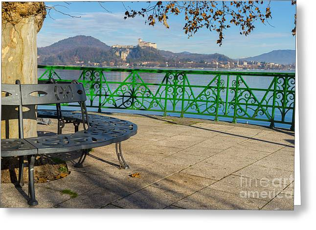 Bench And Castle Greeting Card by Mats Silvan