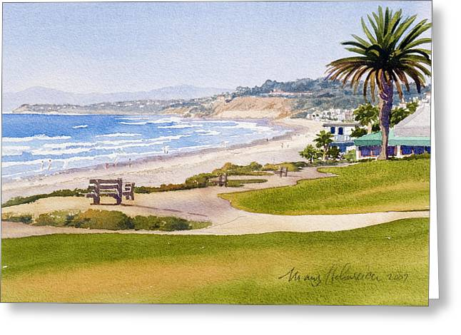 Bench At Powerhouse Beach Del Mar Greeting Card by Mary Helmreich