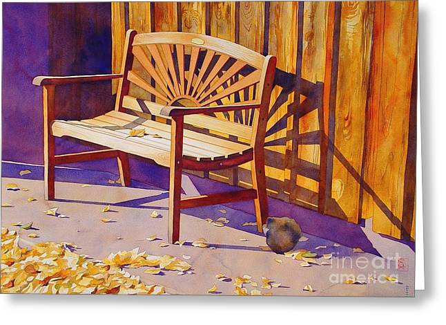 Bench At Sharlot Hall Greeting Card by Robert Hooper
