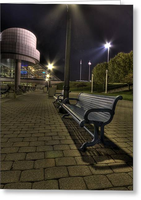 Bench At The Rock Hall Greeting Card by Brent Durken