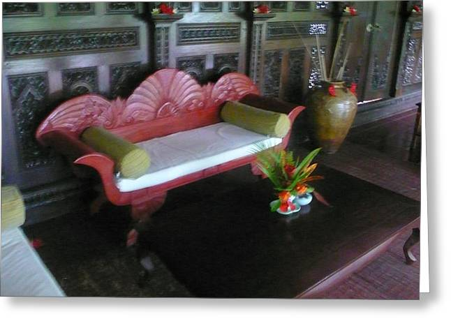 Bench In Bali Greeting Card by Jack Edson Adams