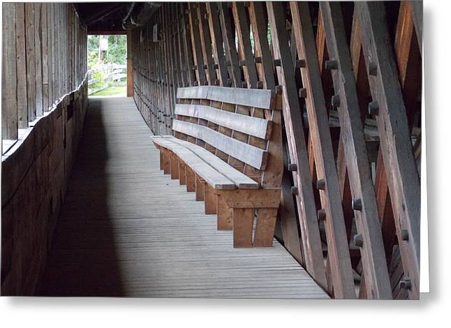 Bench Inside A Covered Bridge Greeting Card by Catherine Gagne