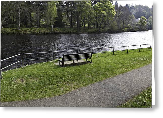 Bench On Shore Of River Ness In Inverness Greeting Card by Ashish Agarwal