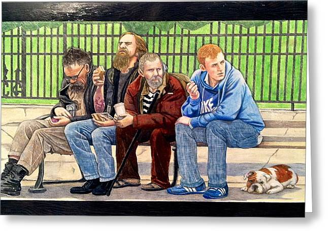 Bench People Series-the Guys  Greeting Card by Betsy Frahm