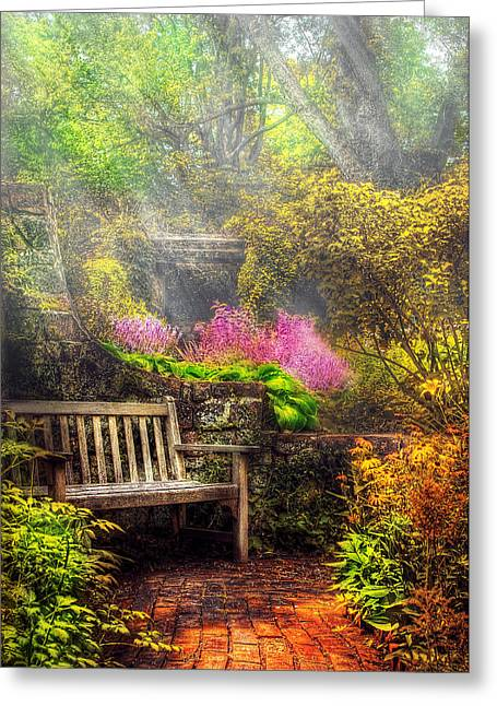 Bench - Tranquility II Greeting Card by Mike Savad
