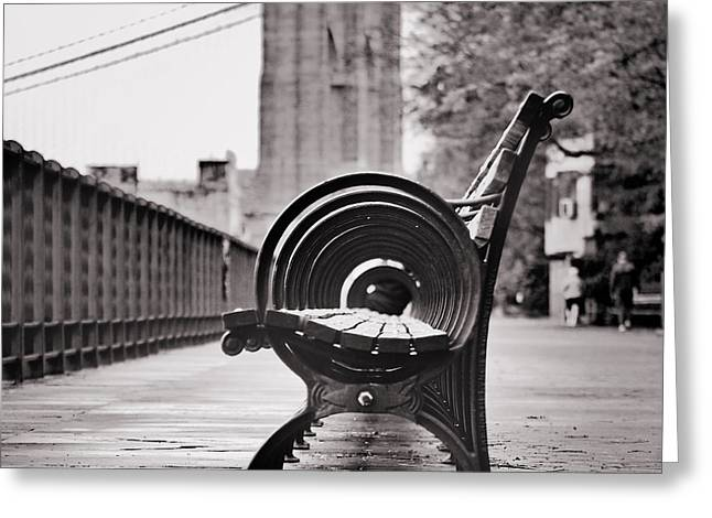 Bench's Circles And Brooklyn Bridge - Brooklyn Heights Promenade - New York City Greeting Card