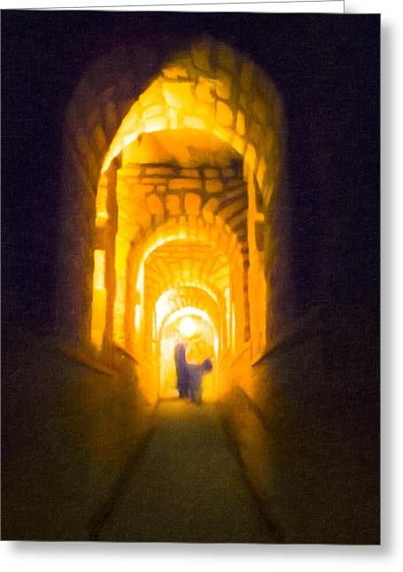 Beneath The Streets Of Paris - Catacombs Greeting Card by Mark E Tisdale