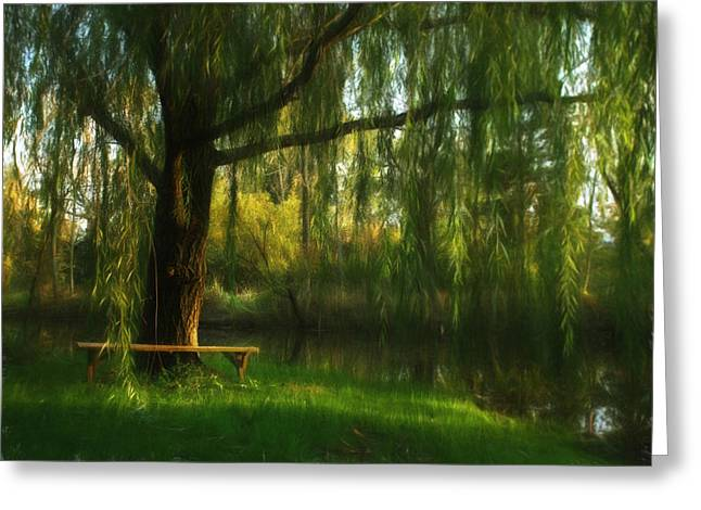 Beneath The Willow Greeting Card by Lori Deiter