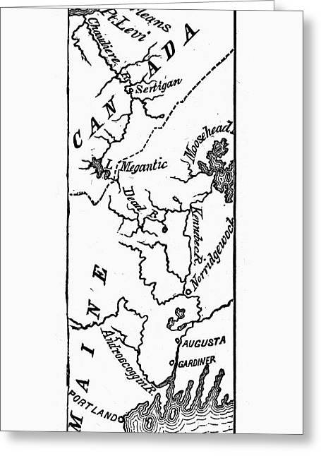 Benedict Arnold: Map, 1775 Greeting Card by Granger