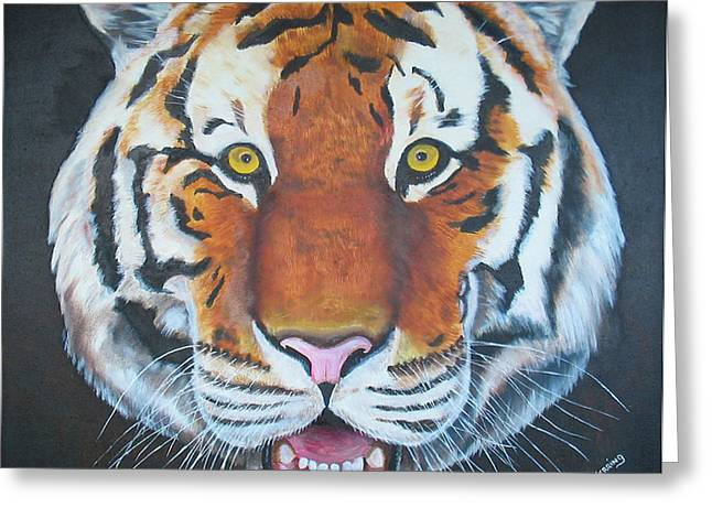 Greeting Card featuring the painting Bengal Tiger by Thomas J Herring