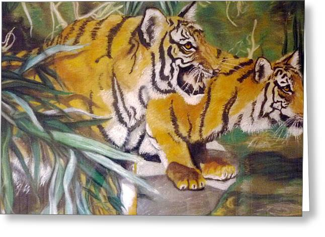 Bengal Tigers By The Waterside Greeting Card by Ronald Osborne