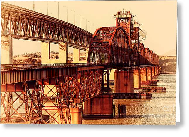 Benicia-martinez Bridges Across The Carquinez Strait In California . 7d10425 Greeting Card