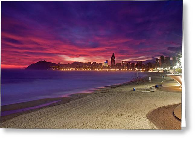 Benidorm At Sunset Greeting Card by Michael Underhill