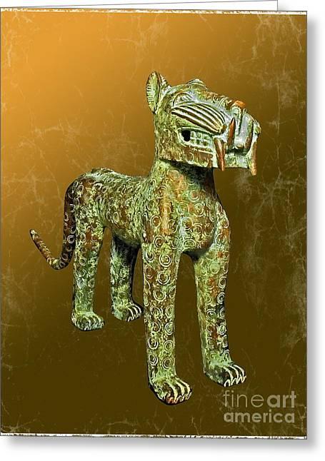 Benin Bronze Leopard Greeting Card by Harold Bonacquist
