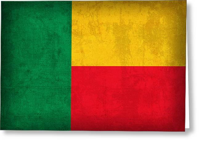 Benin Flag Vintage Distressed Finish Greeting Card by Design Turnpike