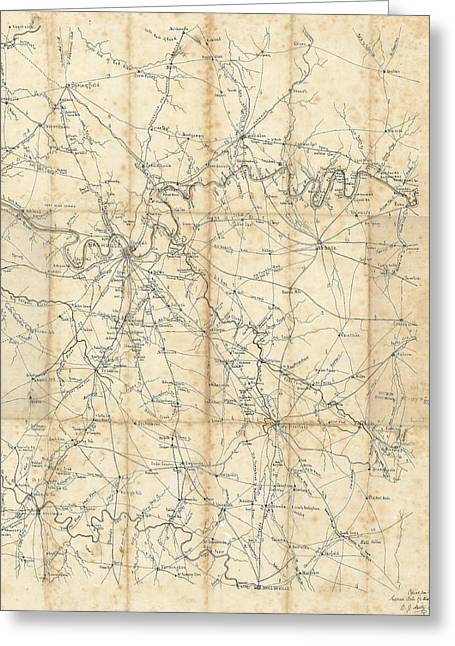 Benjamin F Cheatham Civil War Map Of Nashville And Surrounding Counties  Greeting Card by Cody Cookston