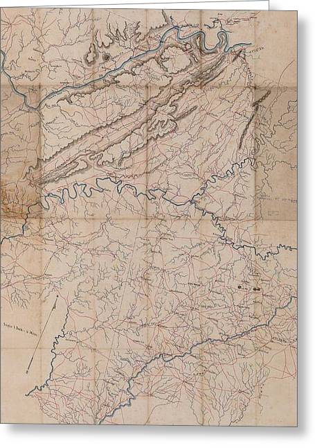 Benjamin F Cheatham Civil War Map Of Northern Georgia  Greeting Card by Cody Cookston