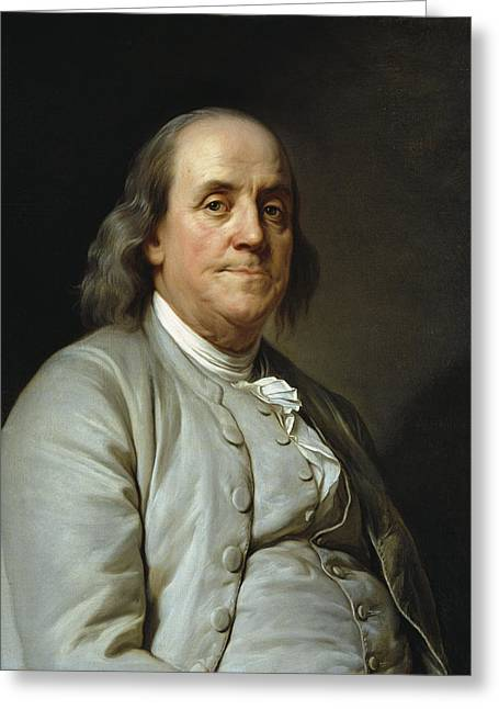 Benjamin Franklin By Joseph Duplessis  C. 1785 Greeting Card by Daniel Hagerman