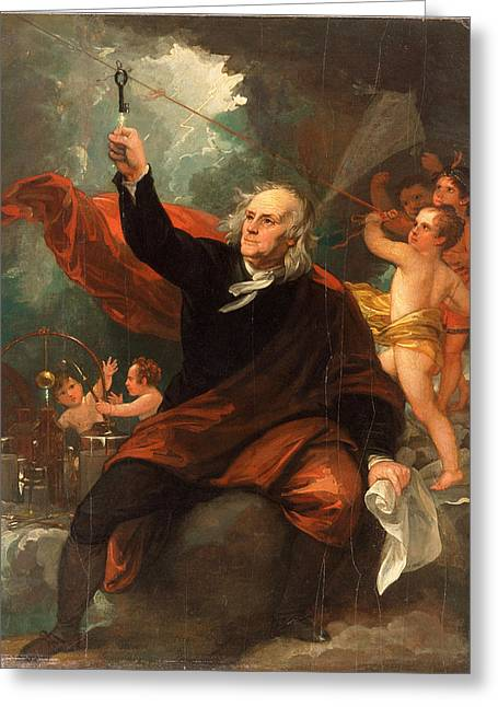 Benjamin Franklin Drawing Electricity From The Sky Greeting Card