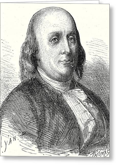 Benjamin Franklin Greeting Card by English School