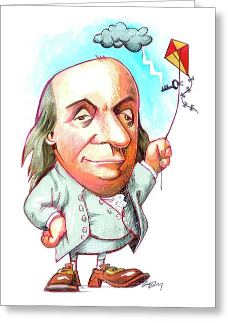 Benjamin Franklin Greeting Card by Gary Brown