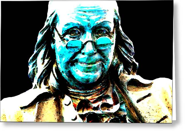Benjamin Franklin - Historic Figure Pop Art By Sharon Cummings Greeting Card