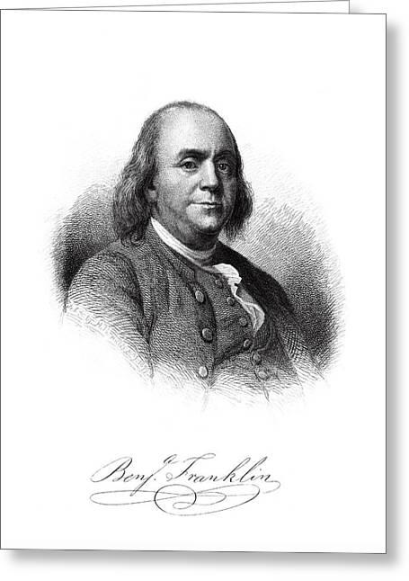 Benjamin Franklin Master Engraving  1879 Greeting Card by Daniel Hagerman