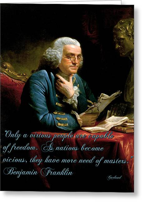 Benjamin Franklin On Freedom Greeting Card