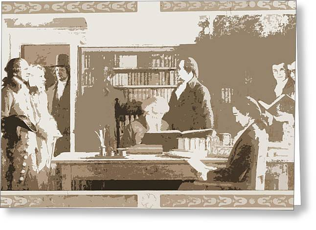 Benjamin Franklin Opening First Subscription Library Greeting Card by Litz Collection