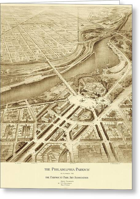 Benjamin Franklin Parkway Plans Greeting Card by American Philosophical Society