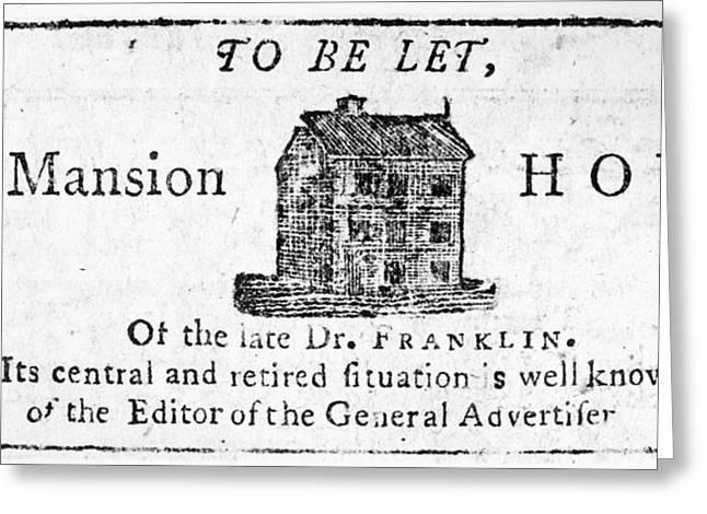 Benjamin Franklin's House Greeting Card by Granger