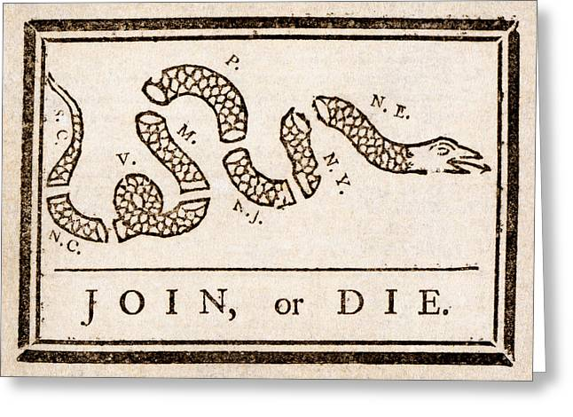 Benjamin Franklin's Join Or Die Cartoon Greeting Card