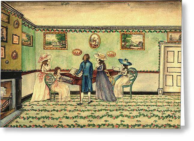 Benjamin Thompson, Harpsichord Recital At Count Rumfords Greeting Card by Litz Collection
