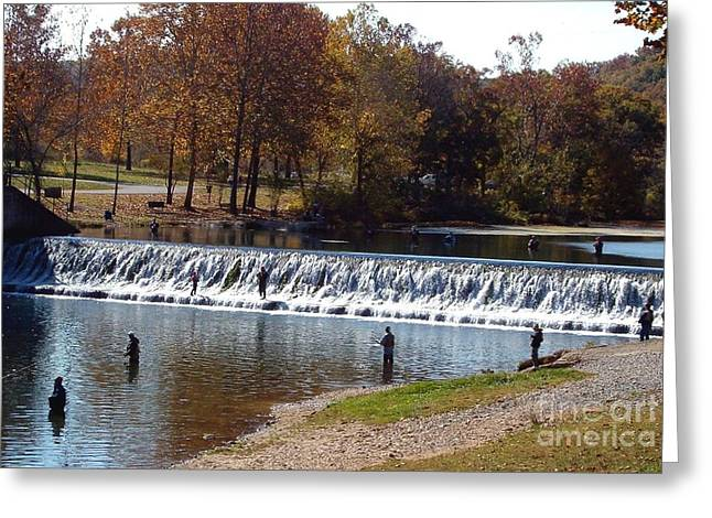 Greeting Card featuring the photograph Bennett Springs Spillway by Sara  Raber