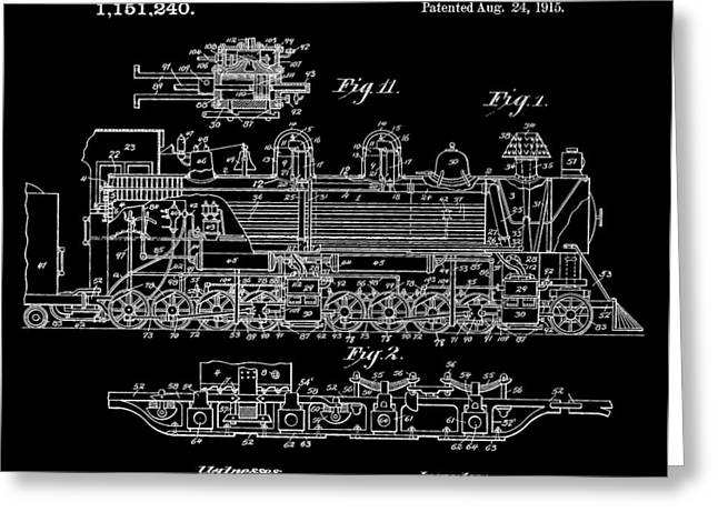 Bennett Train Patent Greeting Card by Dan Sproul