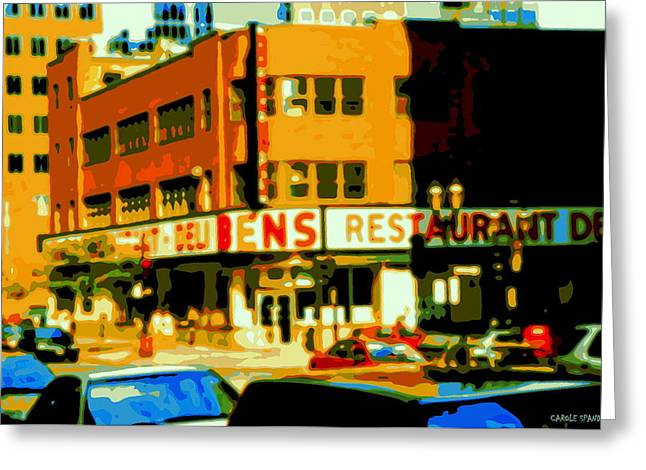 Ben's Restaurant Vintage Montreal Landmarks Nostagic Memories And Scenes Of A By Gone Era Greeting Card by Carole Spandau