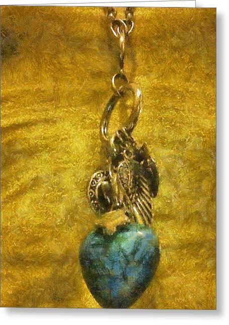 Bensen Turquoise Heart Greeting Card by Lorri Crossno