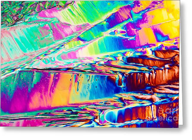 Benzoic Acid Crystals In Polarized Light Greeting Card by Stephan Pietzko