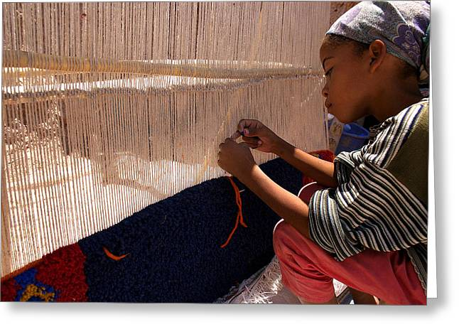 Berber Girl Working On Traditional Berber Rug Ait Benhaddou Southern Morocco Greeting Card by Ralph A  Ledergerber-Photography