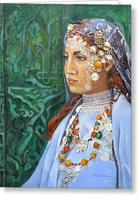Berber Woman Greeting Card by Enzie Shahmiri