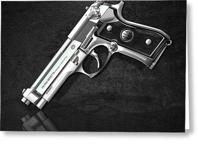 Beretta 92fs Inox Over Black Leather Greeting Card