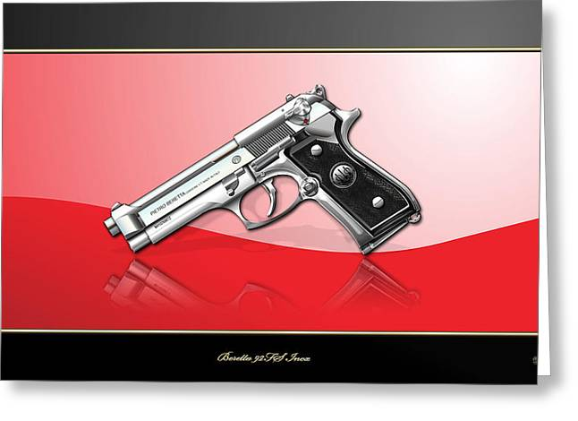 Beretta 92fs Inox Over Red And Black Greeting Card