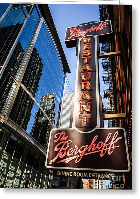 Berghoff Restaurant Sign In Downtown Chicago Greeting Card by Paul Velgos