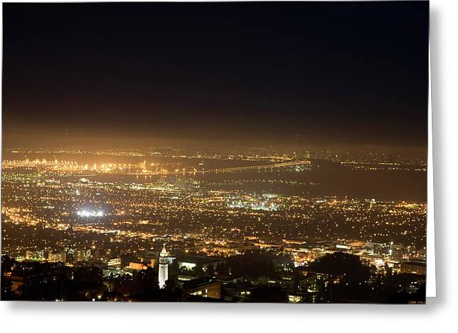 Berkeley At Night Greeting Card by Peter Menzel