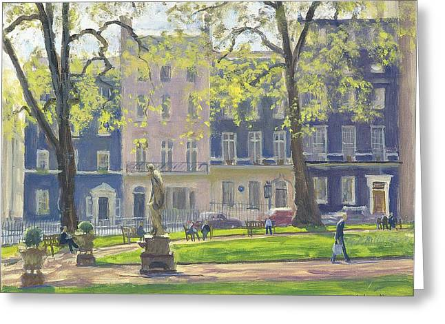 Berkeley Square, South West Corner Oil On Canvas Greeting Card by Julian Barrow
