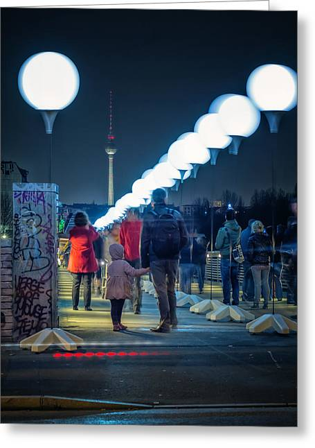 Berlin - Schwedter Steg Lichtgrenze Greeting Card by Alexander Voss