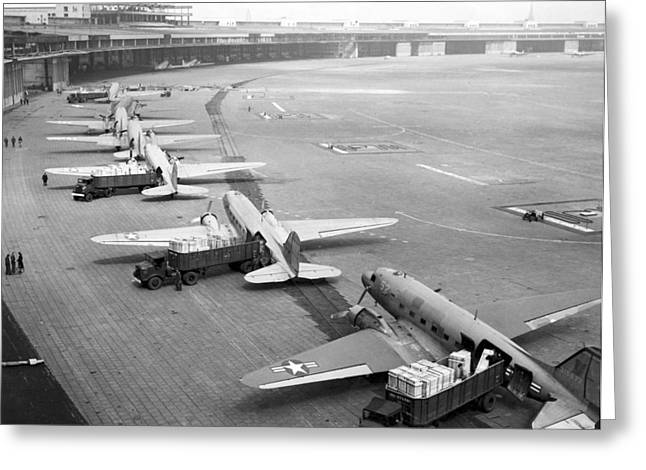 Berlin Airlift Cargo Aeroplanes, 1948-9 Greeting Card by Science Photo Library